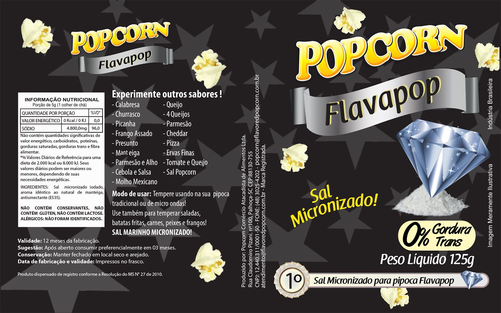 FLAVAPOP - Manteiga - original de Cinema - Sal Micronizado Popcorn  - Pct 1kg