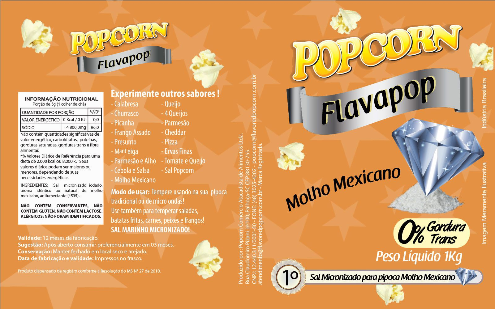 FLAVAPOP - Molho Mexicano - Micronizado Popcorn  - Pct 1kg