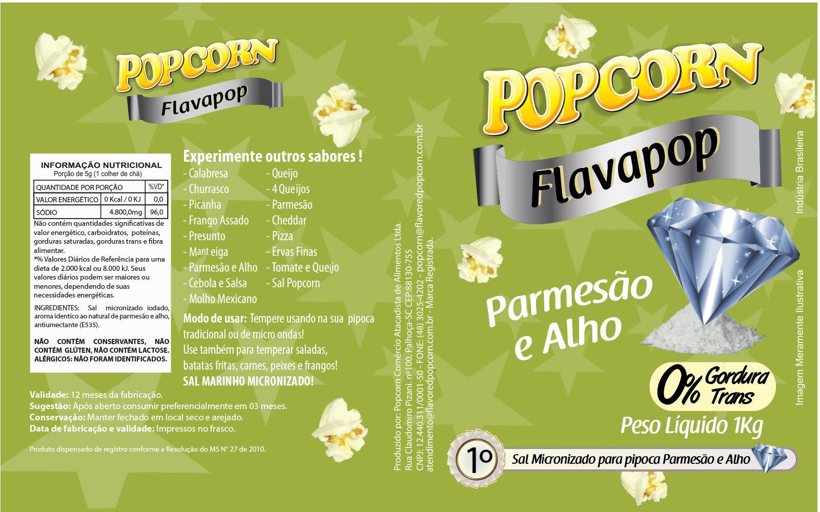 FLAVAPOP - Original de cinema -  Parmesão e alho - Micronizado Popcorn  - Pct 1kg