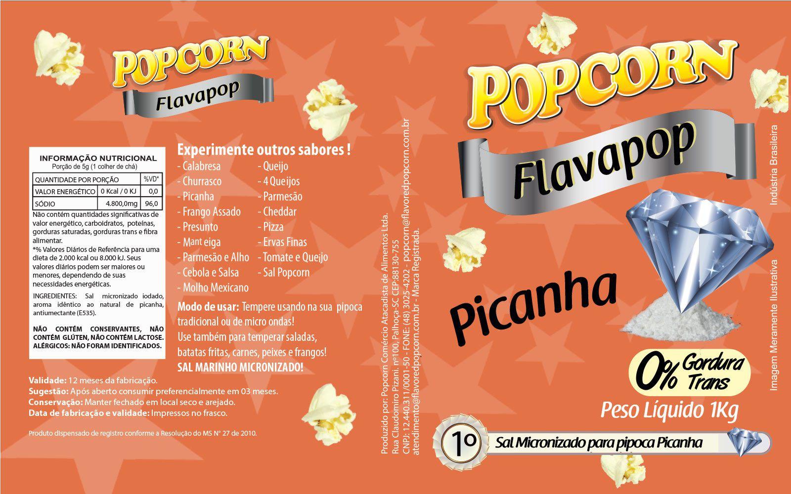 FLAVAPOP - Original de cinema -  Picanha - Micronizado Popcorn  - Pct 1kg