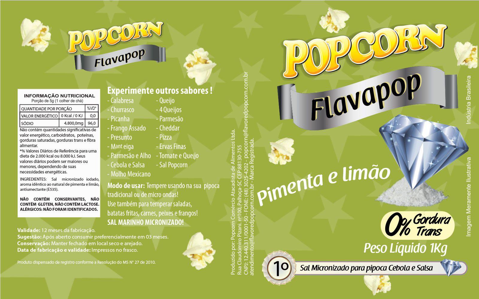 FLAVAPOP - Original de cinema -  Pimenta e limão - Micronizado Popcorn  - Pct 1kg