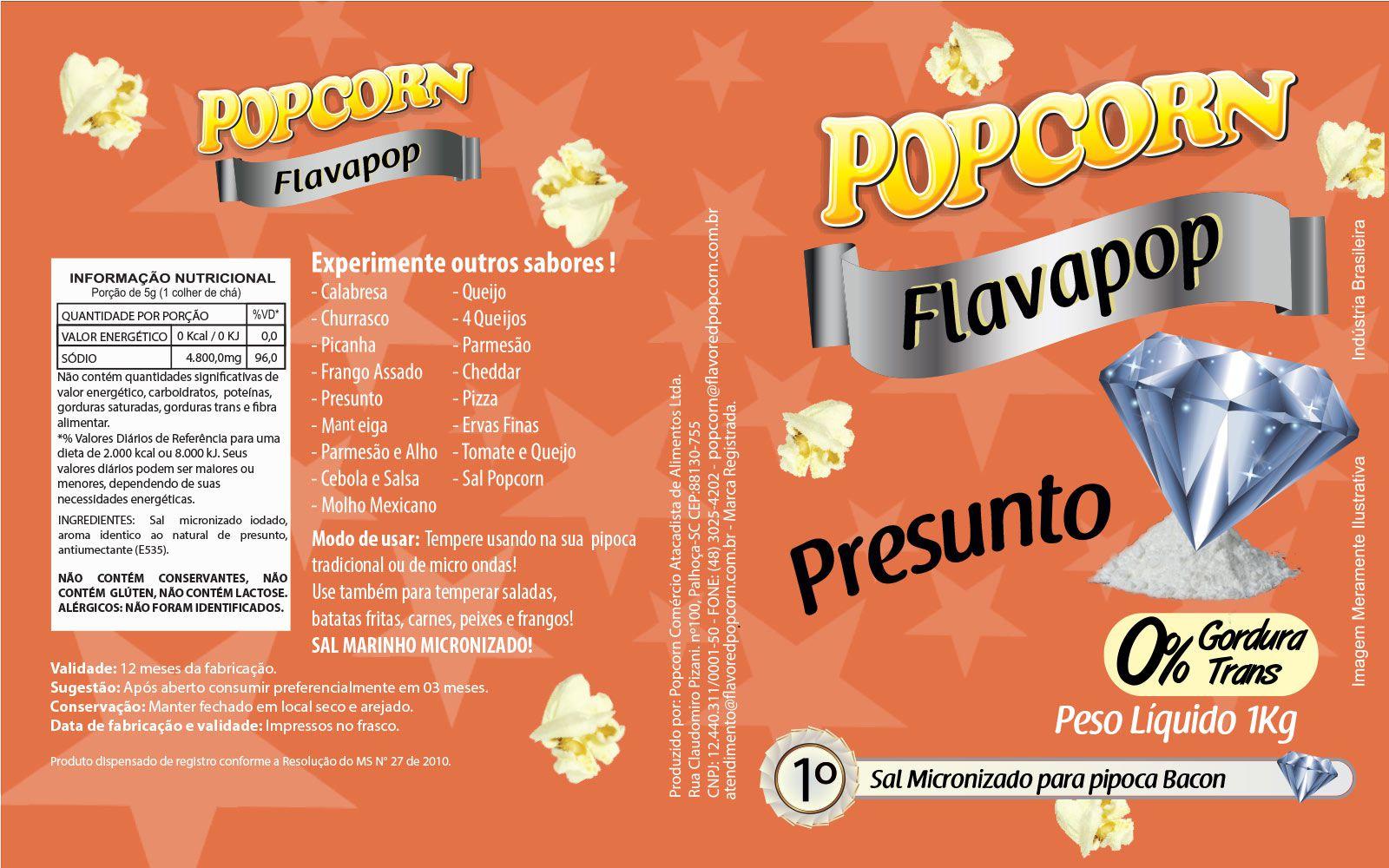 FLAVAPOP - Original de cinema -  Presunto - Micronizado Popcorn  - Pct 1kg