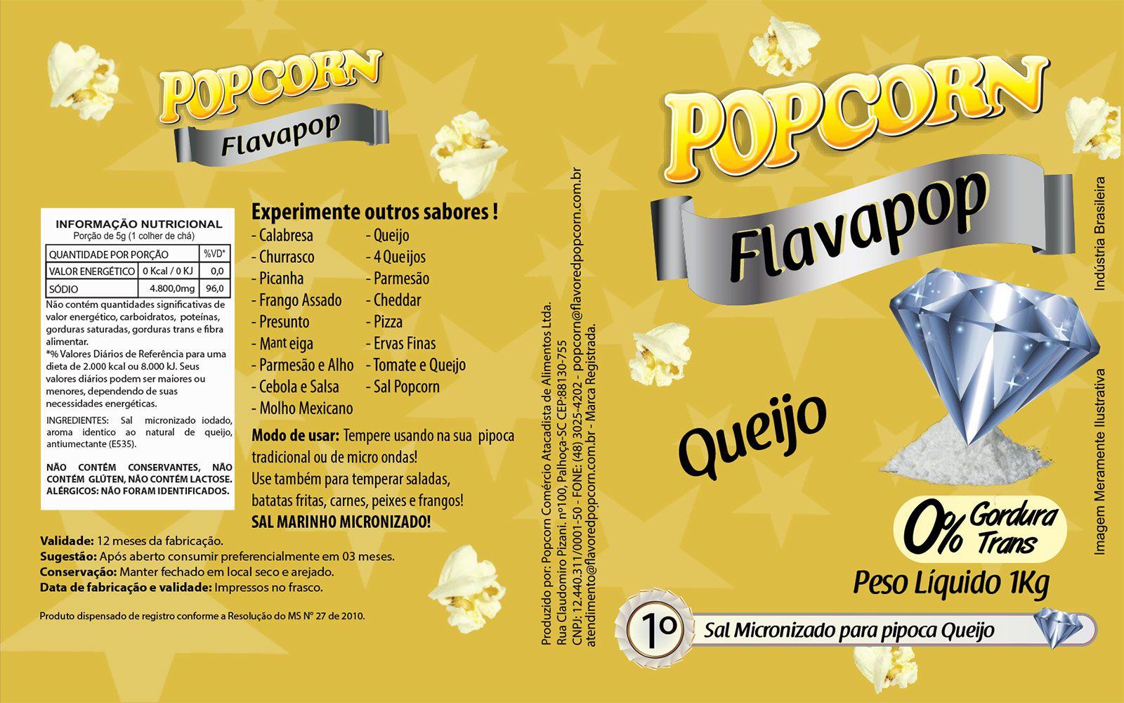 FLAVAPOP - Original de cinema -  Queijo - Micronizado Popcorn  - Pct 1kg