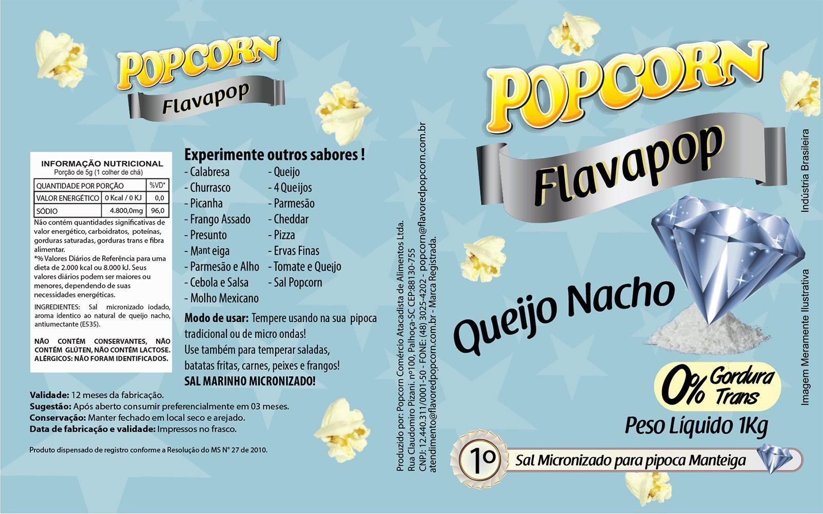 FLAVAPOP - Original de cinema - Queijo Nacho - Micronizado Popcorn  - Pct 1kg