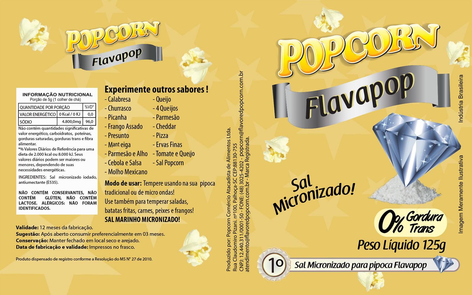 FLAVAPOP - Original de cinema -  Sal Micronizado Popcorn  - Pct 1kg