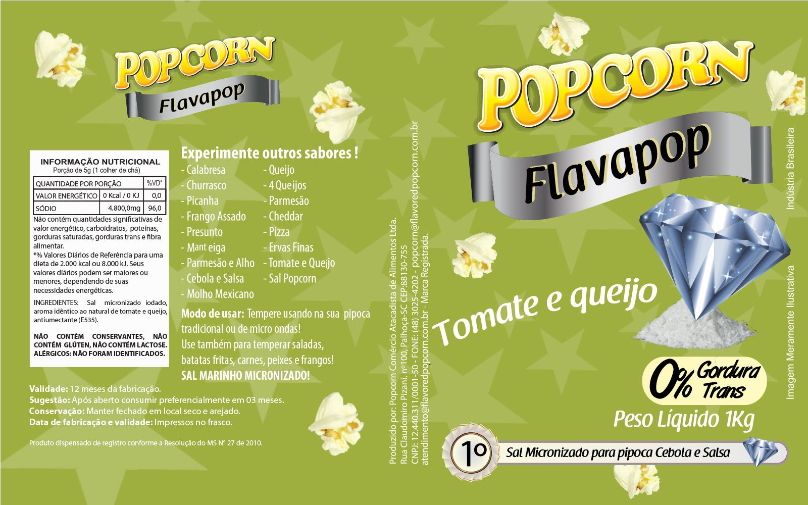 FLAVAPOP - Original de cinema -  Tomate e Queijo - Micronizado Popcorn  - Pct 1kg