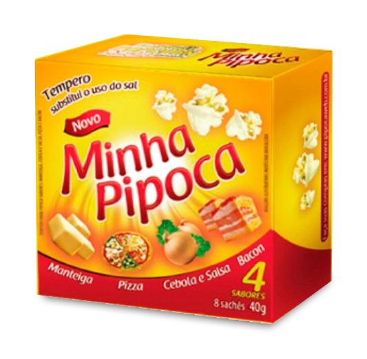 Tempero Popcorn - Minha Pipoca = 08 Sachês = Bacon + cebola e salsa + manteiga e Pizza