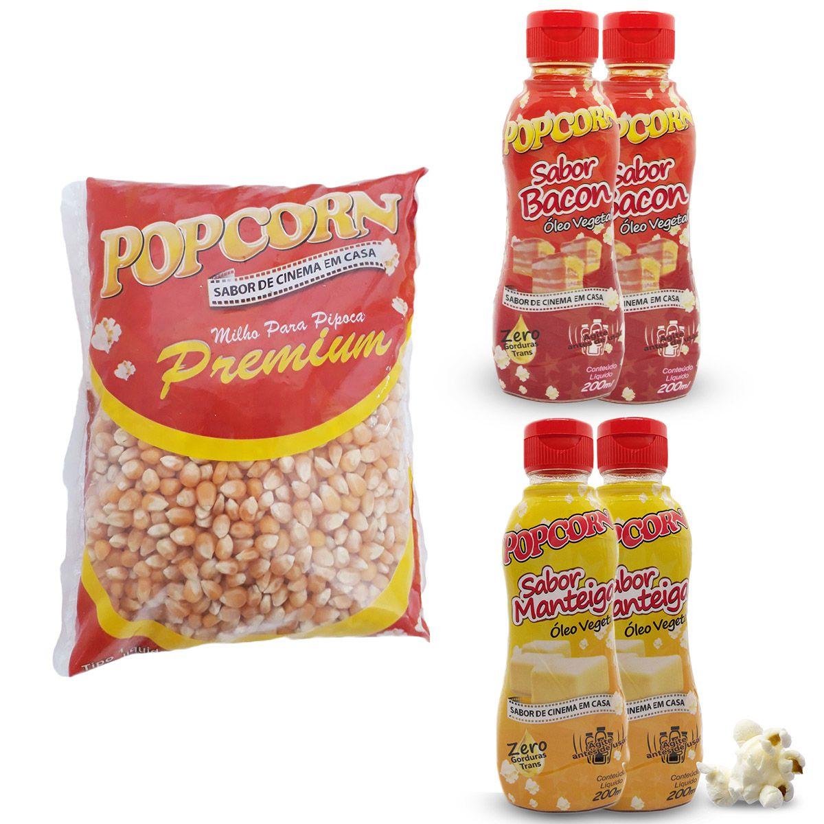 Pipoca com sabor de cinema em casa - Óleo Vegetal Sabor Manteiga e Bacon 2 unidades cada + 500g Milho Premium.