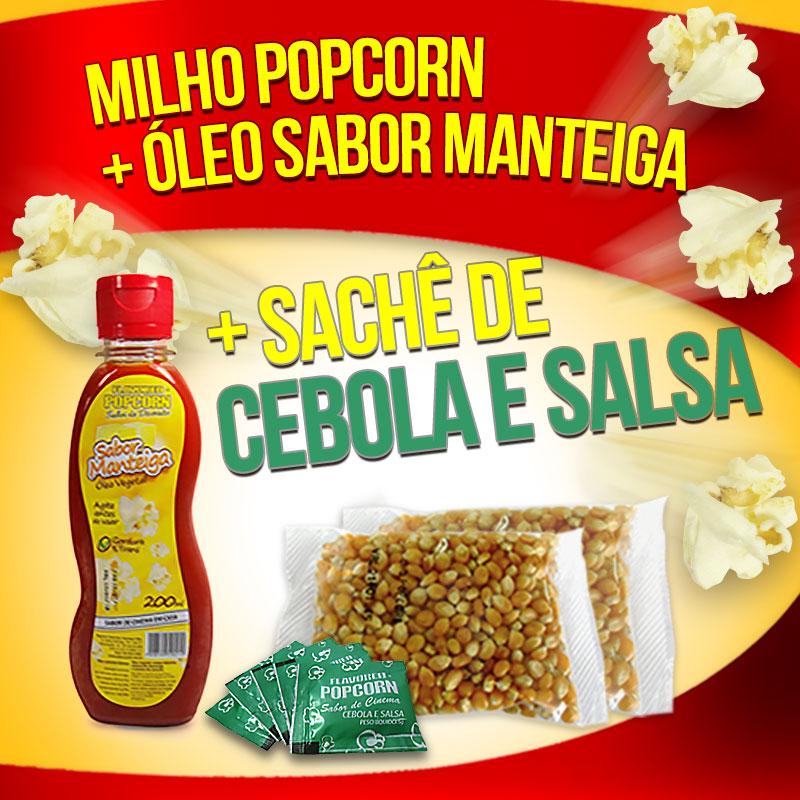 Popcorn Premium 200g milho + Óleo sabor Manteiga + 05 Sachê de Cebola e Salsa