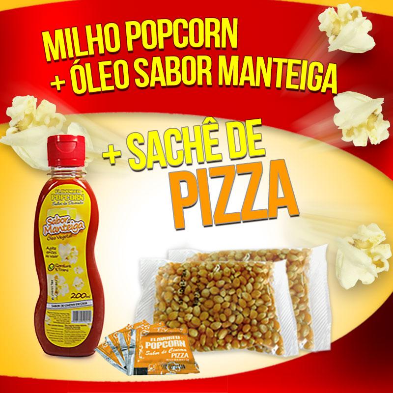 Popcorn Premium 200g milho + Óleo sabor Manteiga + 05 Sachê de Pizza