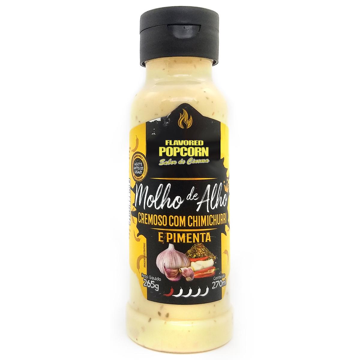 Molho de Alho Cremoso com Chimichurri e Pimenta Flavored Popcorn 270 ml.