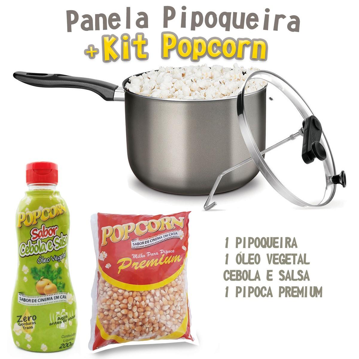 Pipoqueira Antiaderente com Tampa de Vidro + Kit Popcorn e Óleo vegetal Cebola e Salsa