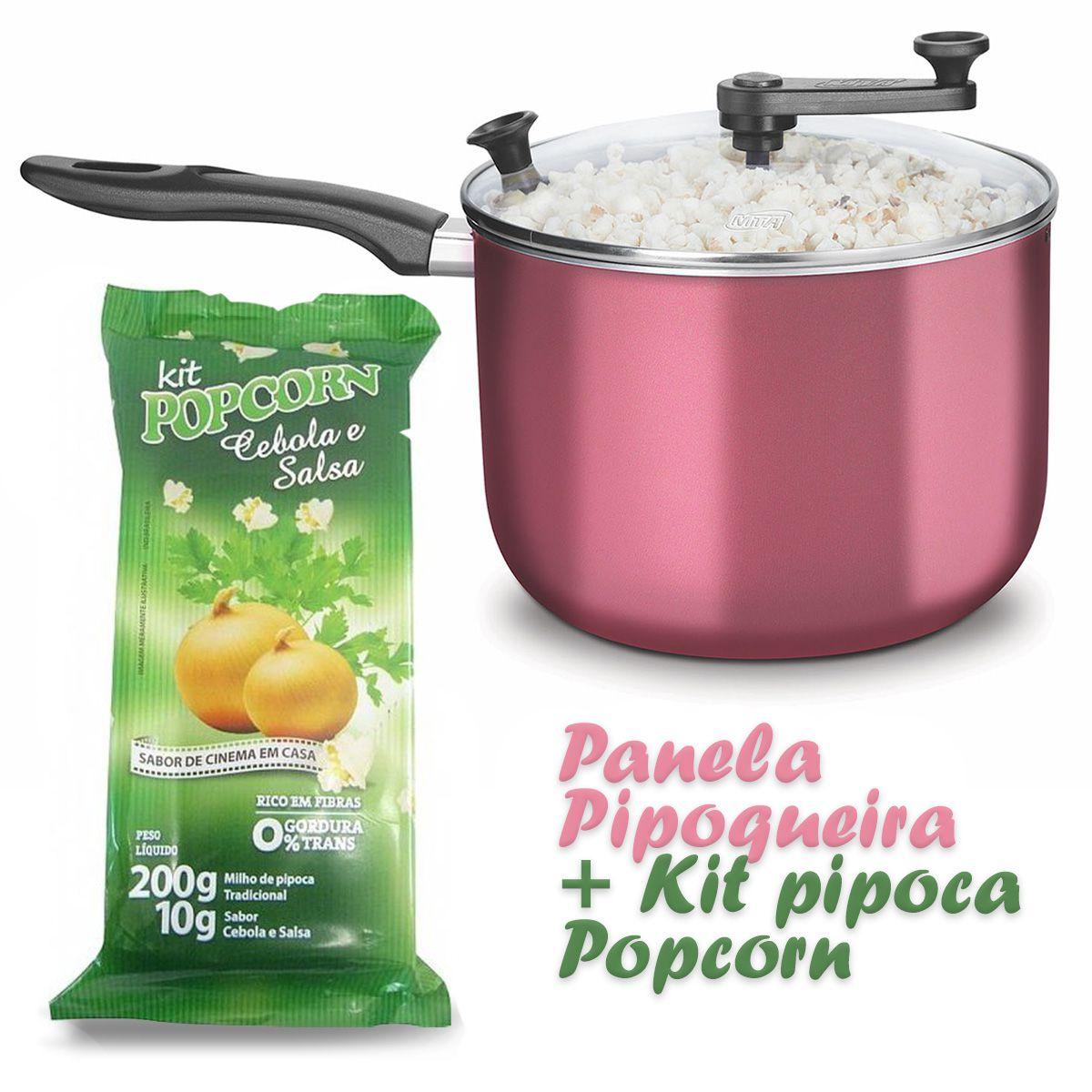 Pipoqueira Panela com Tampa de Vidro + Kit pipoca Popcorn sabor Cebola e Salsa