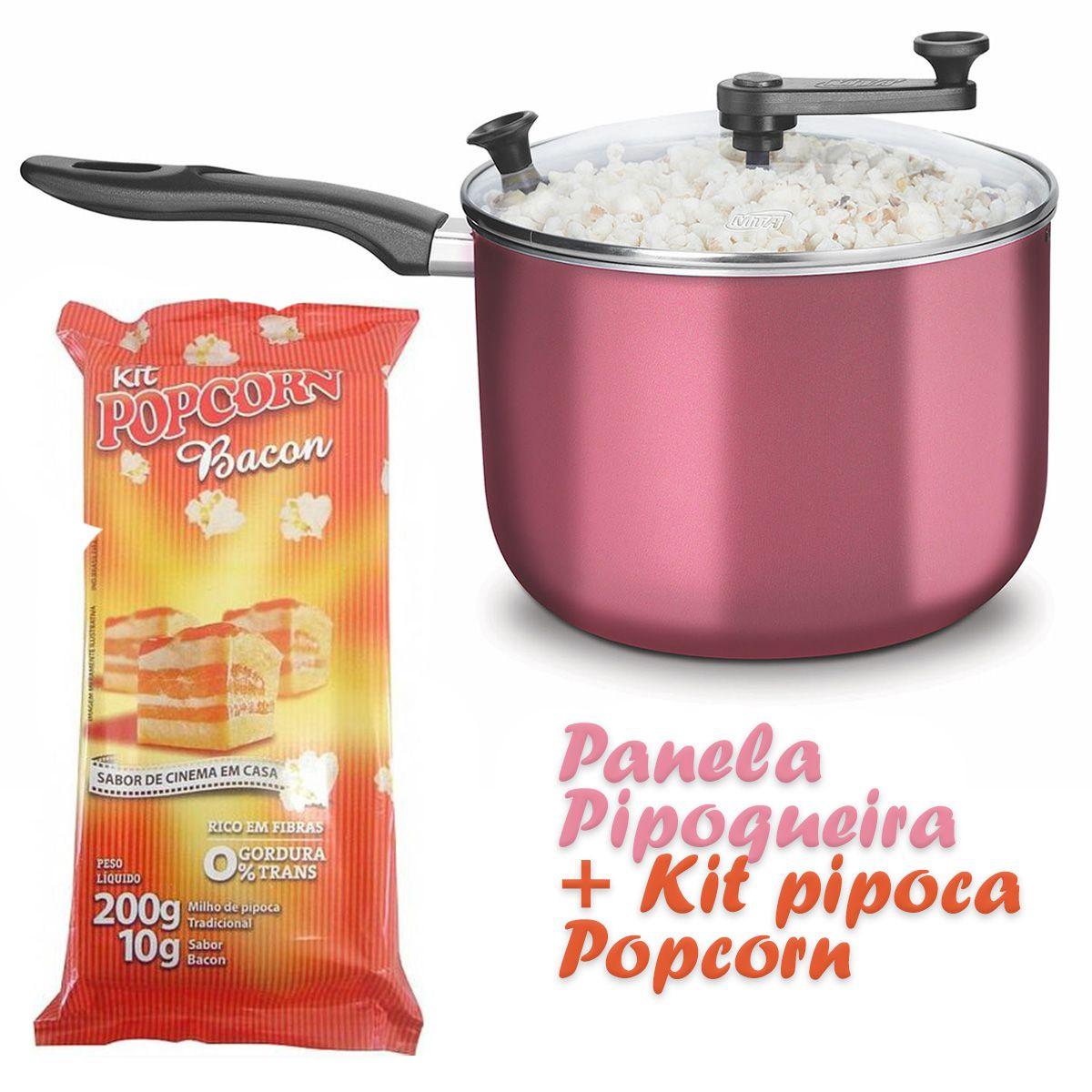 Pipoqueira Panela com Tampa de Vidro + Kit pipoca Salgada sabor Bacon