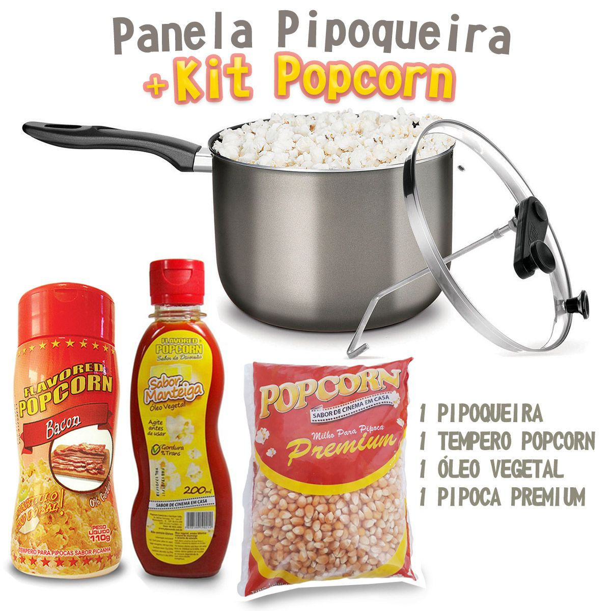 Panela Pipoqueira Antiaderente com Tampa de Vidro + Kit Popcorn e brinde surpresa!