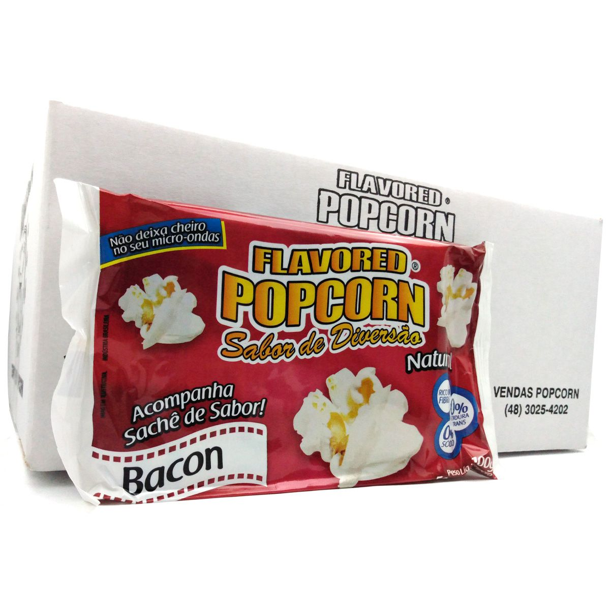 Pipoca Microondas c/ sachê BACON - Caixas com 06 Bags ou 16 Bags.