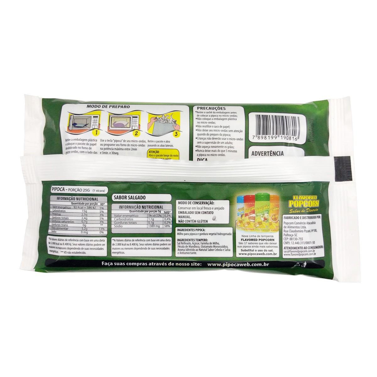 Pipoca Microondas c/ sachê CEBOLA E SALSA - Caixas com 06 Bags ou 16 Bags