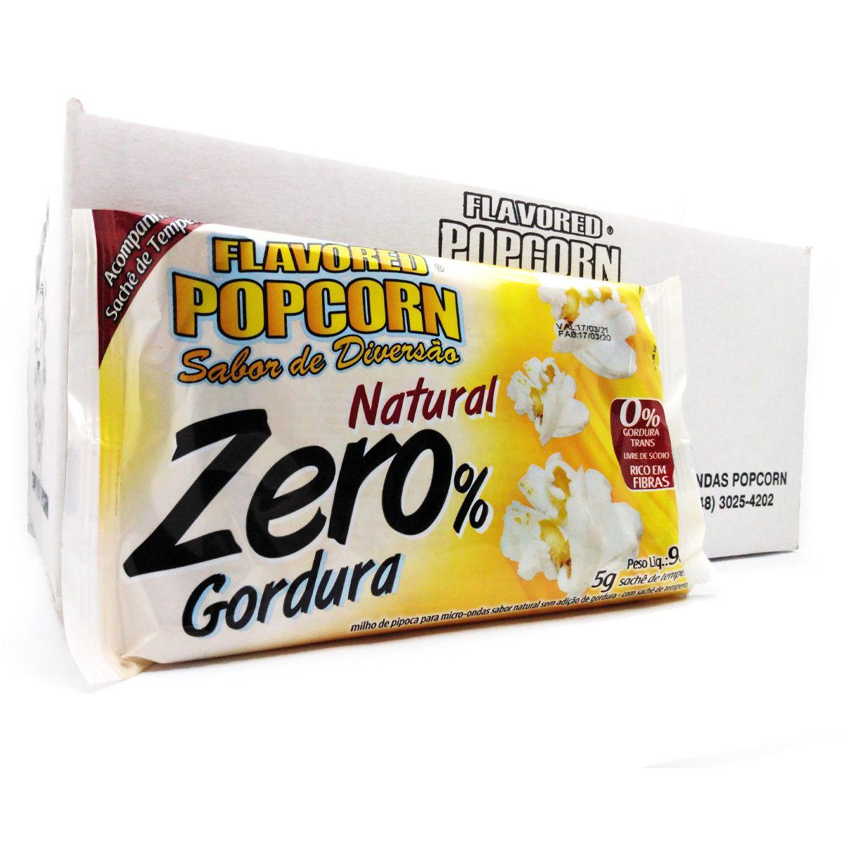 Pipoca Microondas Zero % gordura c/ sachê de sabor - Caixa 06 1 Bags ou 16 Bags.