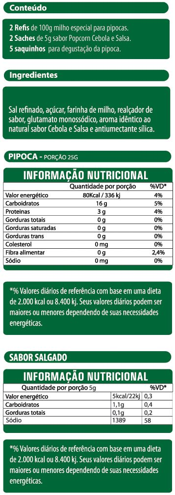 Pipoca Salgada Tradicional - sabor Cebola e Salsa