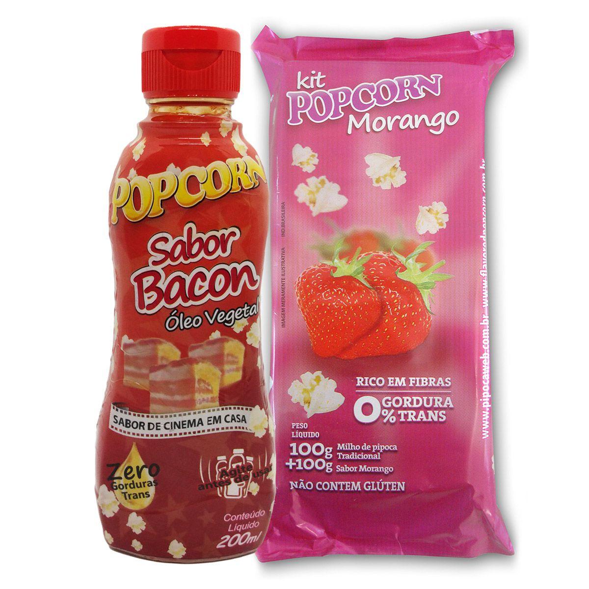 Pipoca Tradicional + Sabor Morango + Óleo Vegetal sabor bacon