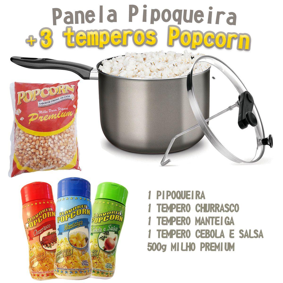 Pipoqueira + 03 temperos Popcorn + Milho Premium.
