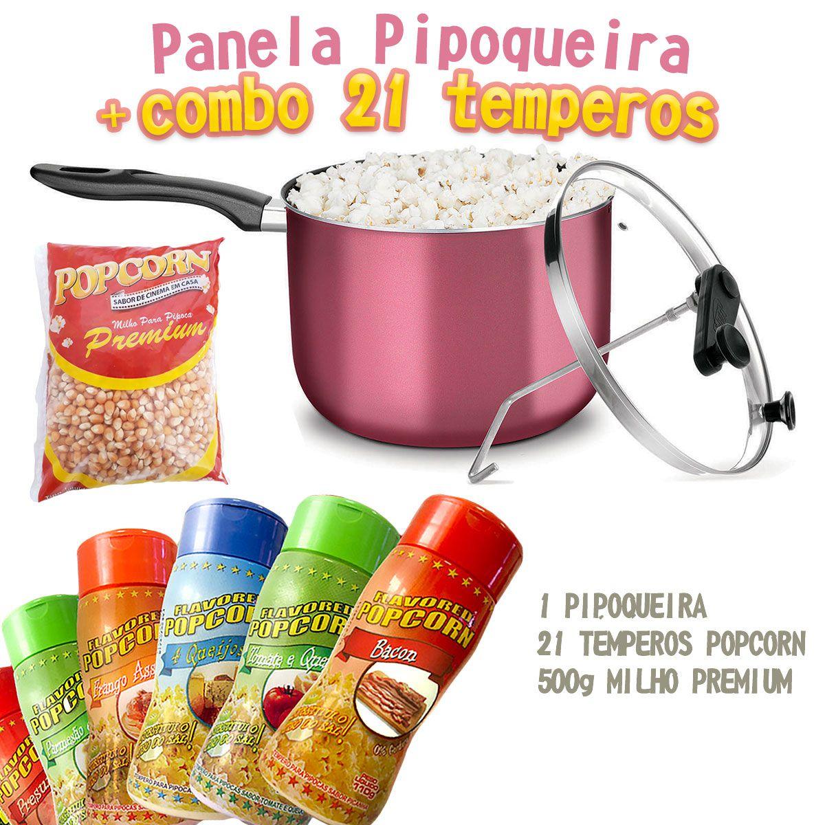 Pipoqueira + 21 Temperos Popcorn + Milho Premium.