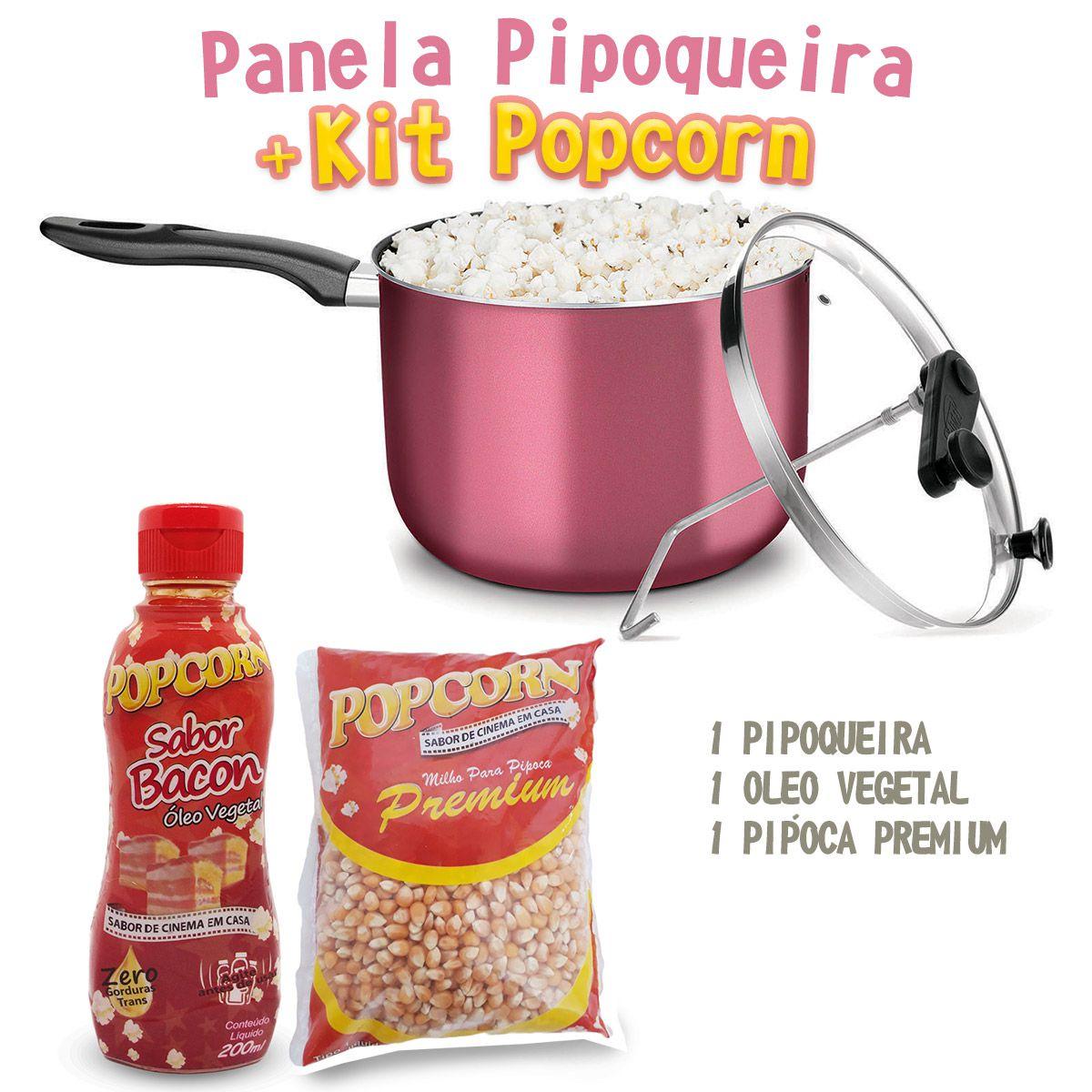 Pipoqueira + Óleo Vegetal sabor Bacon + Milho Premium.