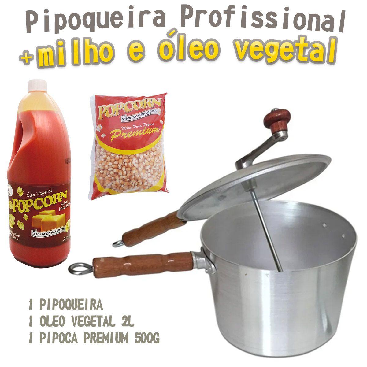 Pipoqueira Profissional Panela em Alumínio Fundido + 500g de milho + 2l de Óleo vegetal Popcorn.
