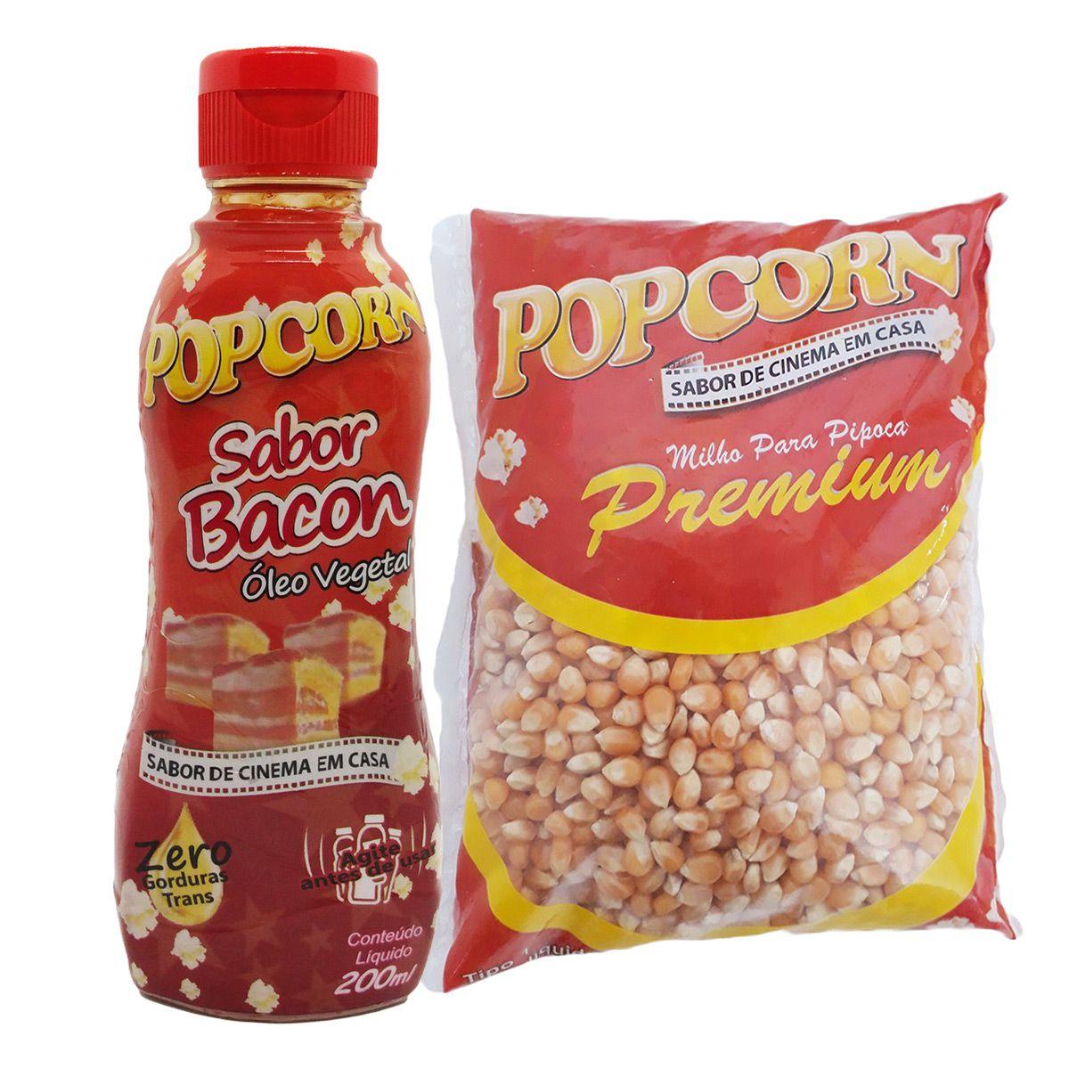 Milho  de pipoca Premium 500g + Óleo Vegetal sabor Bacon