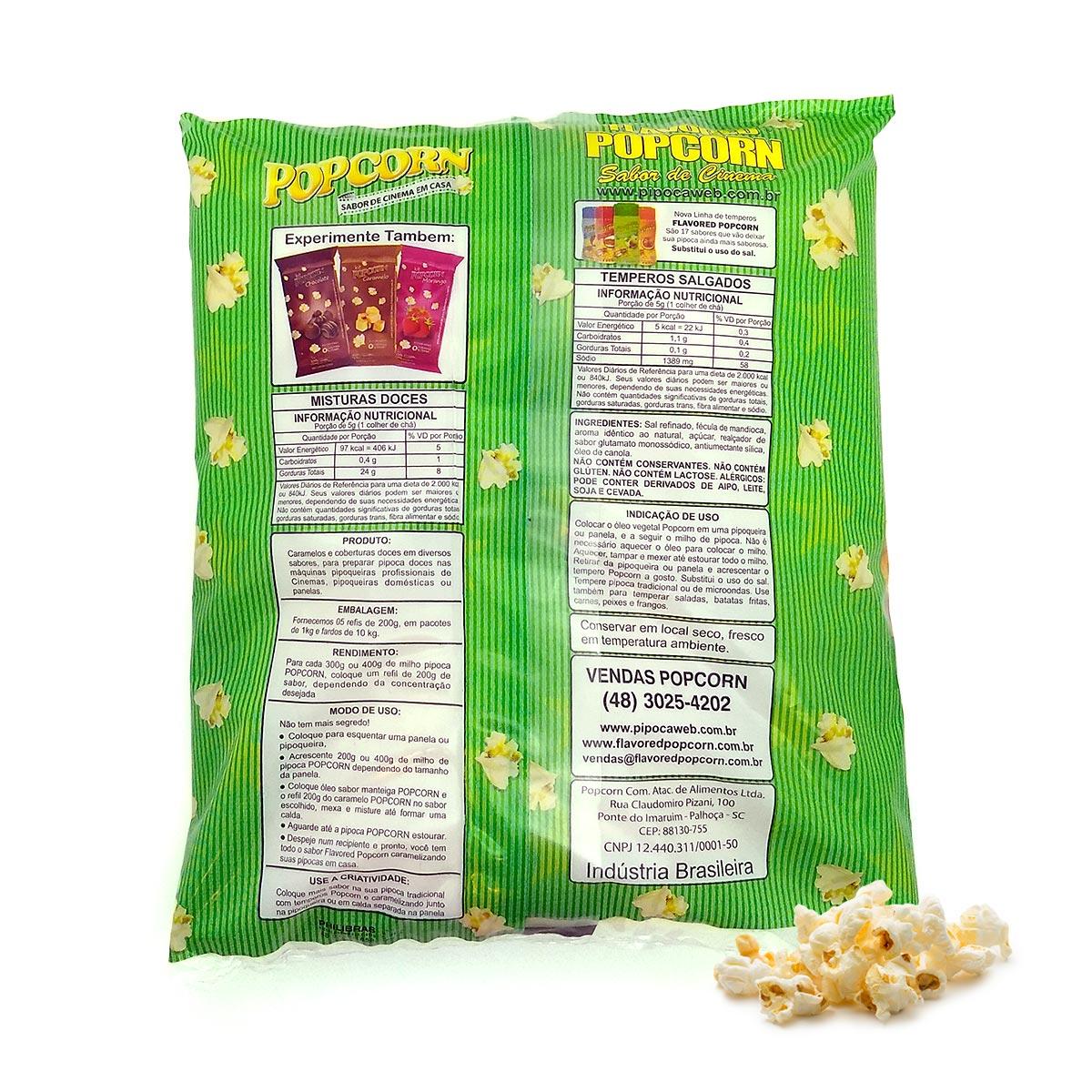 Sabores p/ caramelizar Pipoca Doce - Banana c/ Canela - Pct 1kg