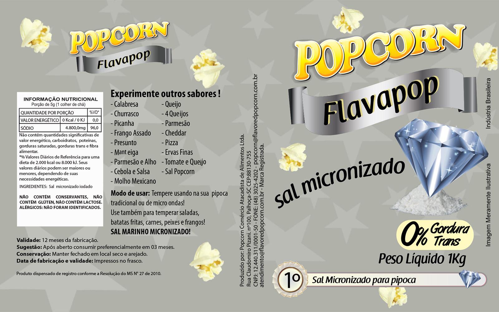 Sal Micronizado Natural Popcorn - Pct 1kg