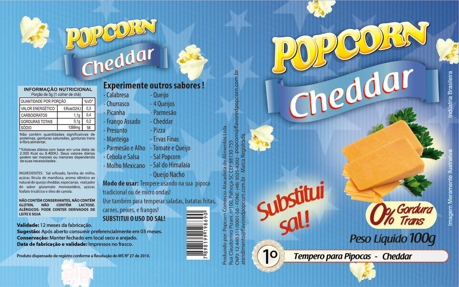 Tempero Pipoca Popcorn - Sabor Cheddar - 1kg
