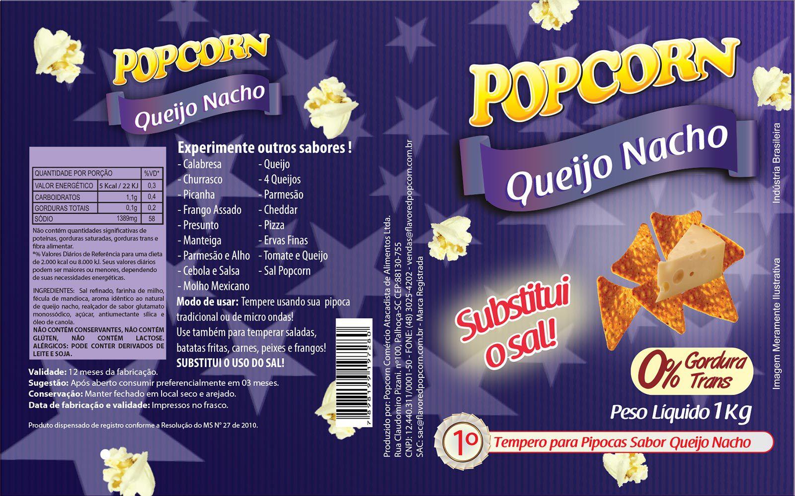 Tempero Pipoca Popcorn - Sabor Queijo Nacho - 1kg
