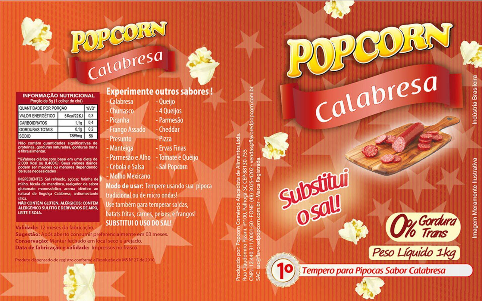 Tempero Pipoca Popcorn - Sabor Calabresa -1kg