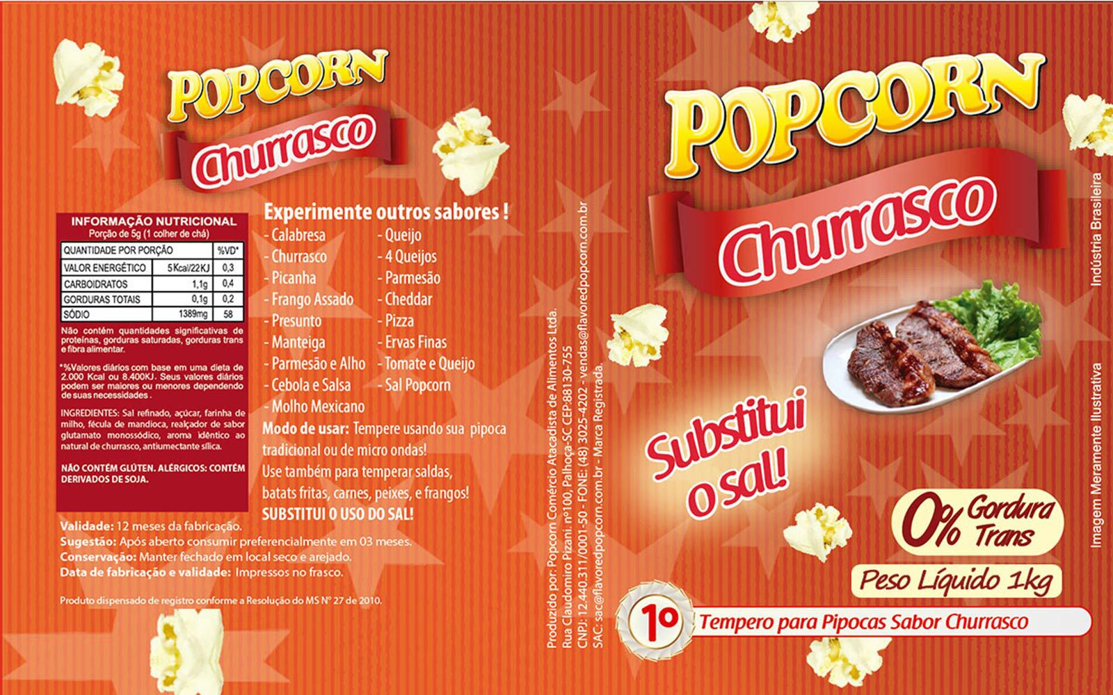Tempero Pipoca Popcorn - Sabor Churrasco - 1kg