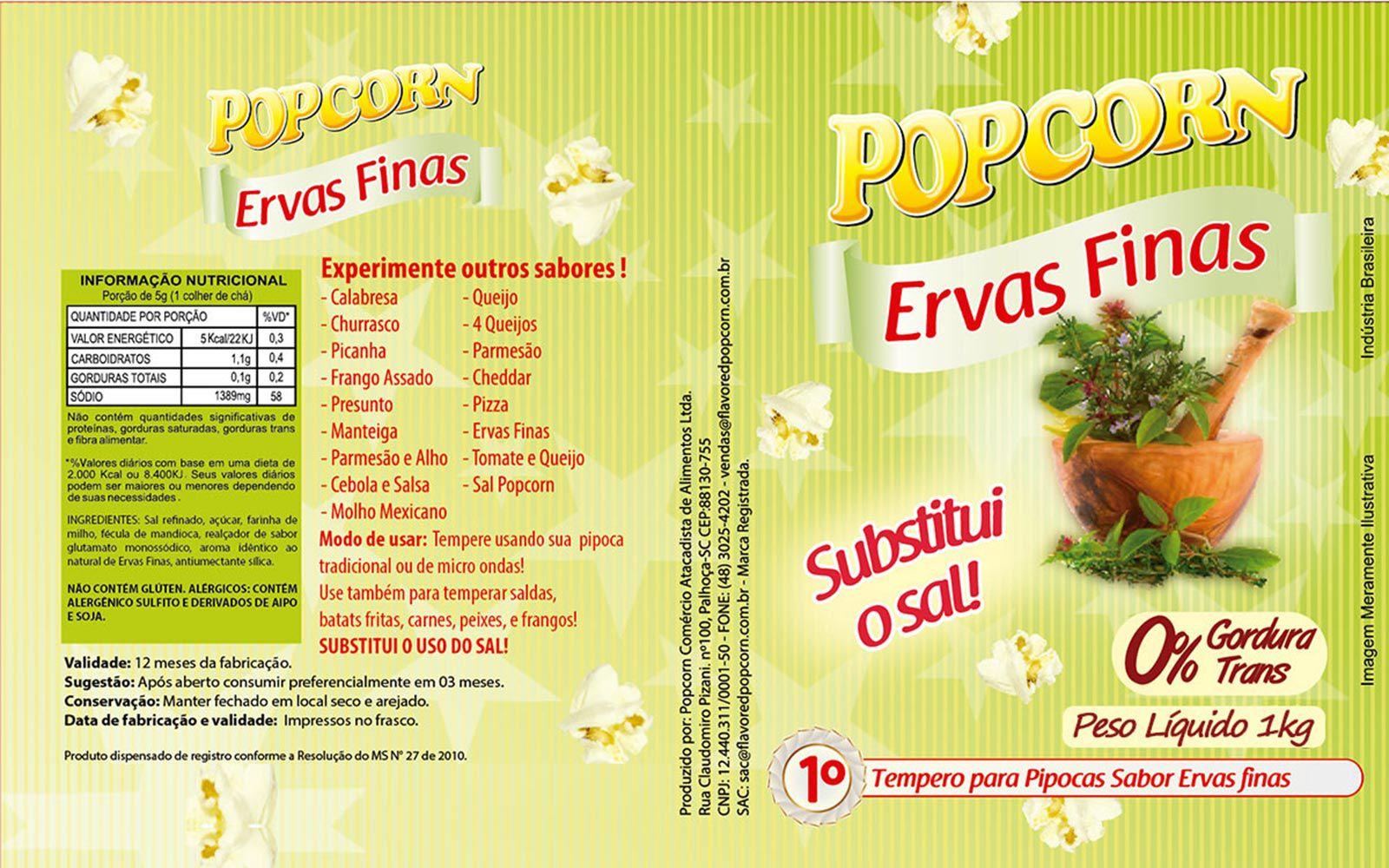 Tempero Pipoca Popcorn - Sabor Ervas Finas - 1kg