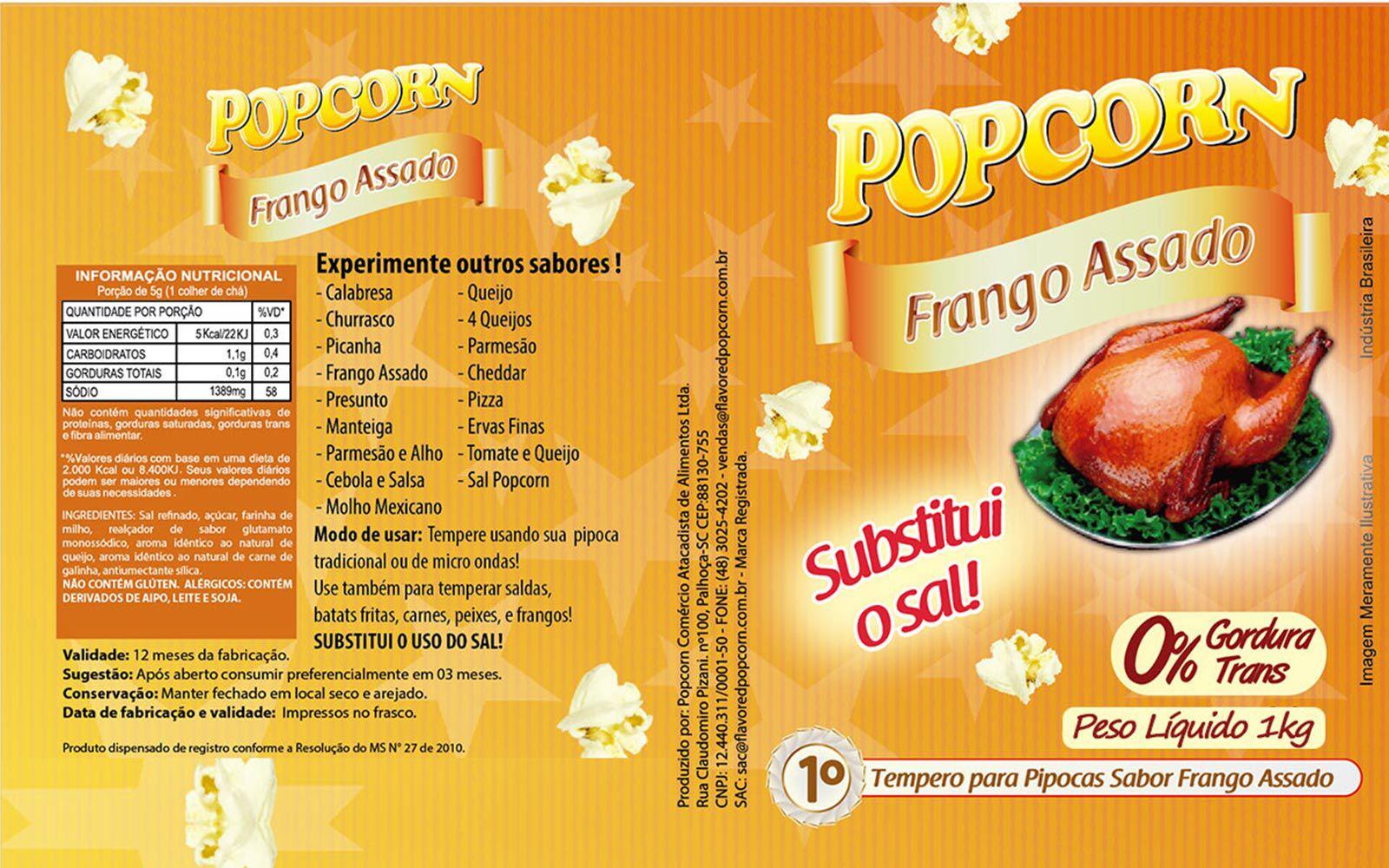 Tempero Pipoca Popcorn - Sabor Frango Assado - 1kg