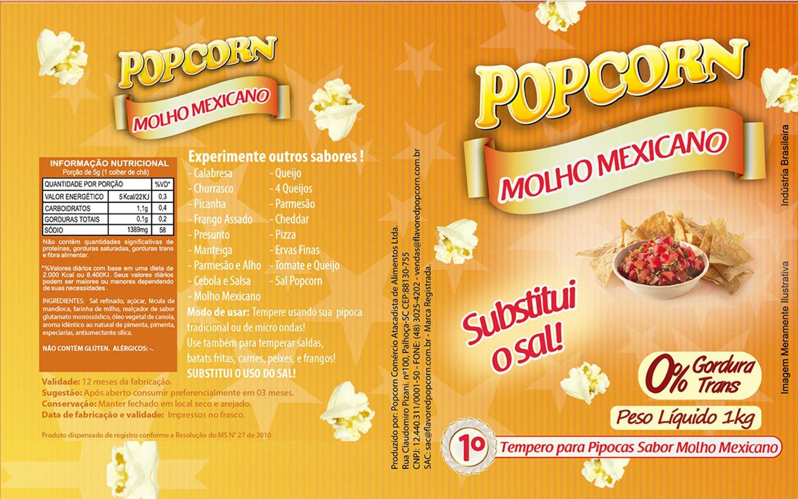 Tempero Pipoca Popcorn - Sabor Molho Mexicano - 1kg