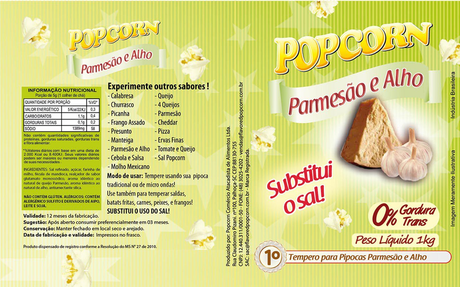 Tempero pipoca Popcorn - Sabor Parmesão e Alho - Fardo de 1kg