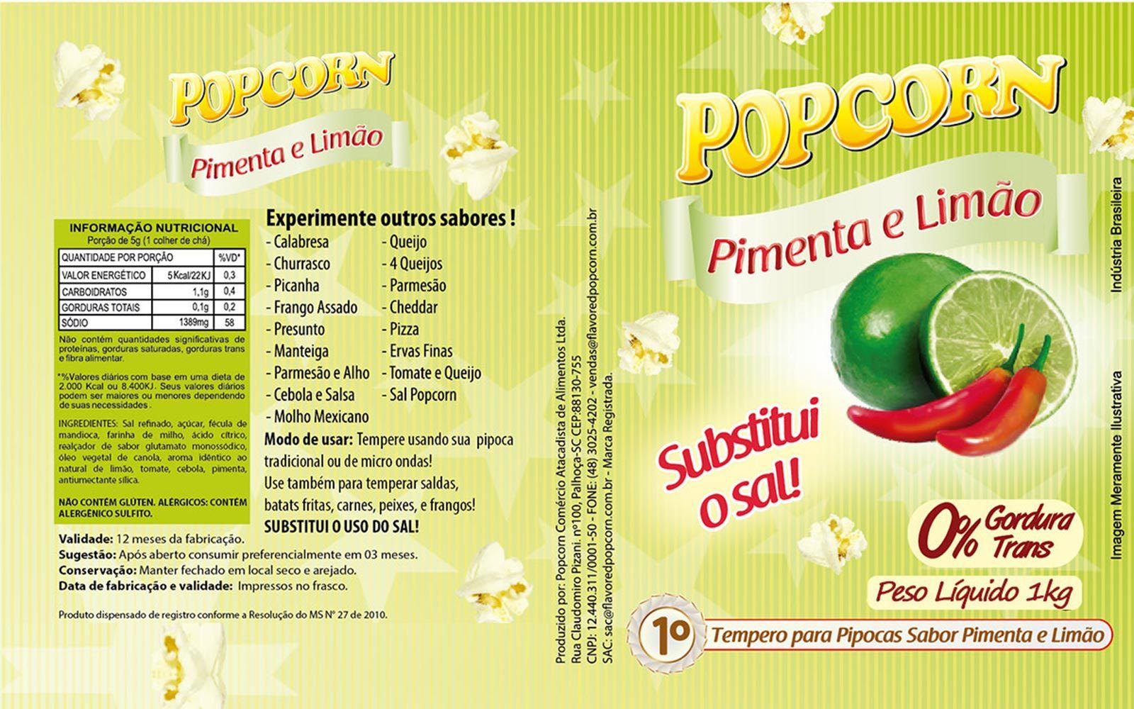 Tempero Pipoca Popcorn - Sabor Pimenta e Limão - 1kg
