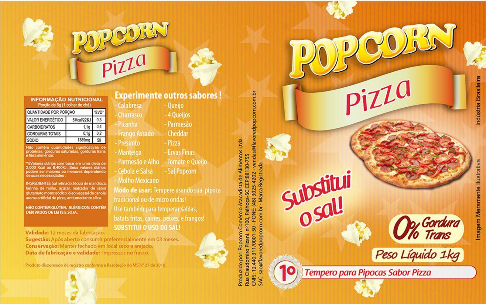 Tempero Pipoca Popcorn - Sabor Pizza - 1kg