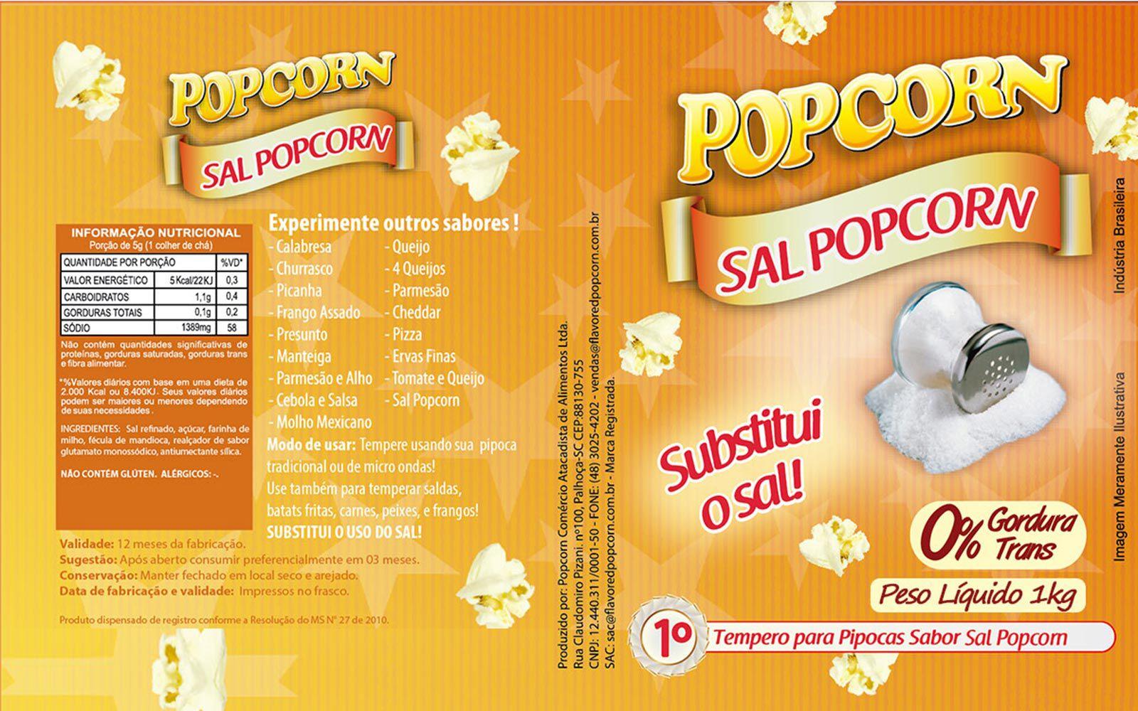 Tempero Pipoca Popcorn - Sabor Sal Popcorn - 1kg