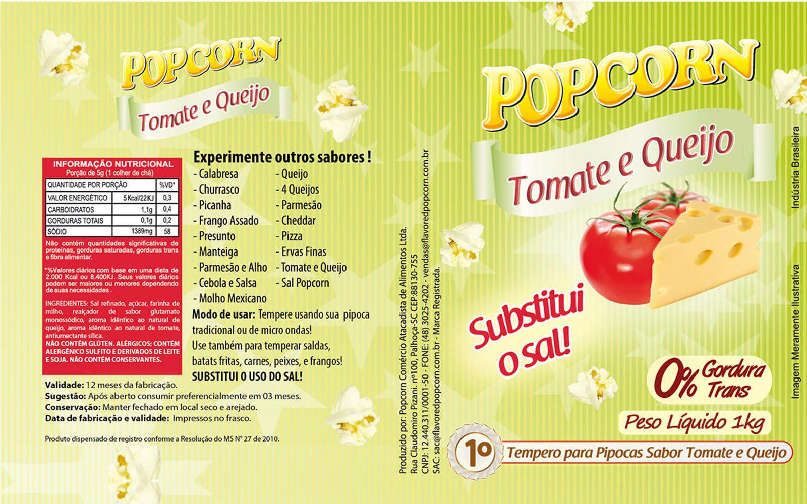 Tempero Pipoca Popcorn - Sabor Tomate e Queijo - 1kg