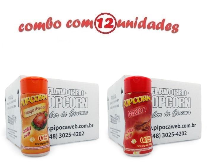 TEMPEROS P/ PIPOCA - CAIXA 12 FRASCOS - 6 FRANGO ASSADO - 6 BACON
