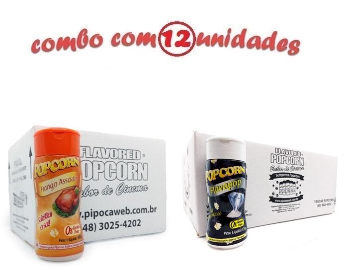 TEMPEROS P/ PIPOCA - CAIXA 12 FRASCOS - 6 FRANGO ASSADO - 6 FLAVAPOP MANTEIGA