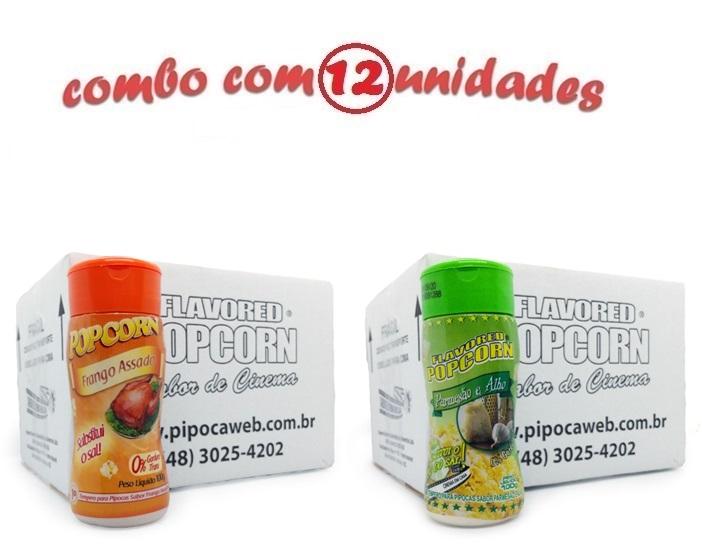 TEMPEROS P/ PIPOCA - CAIXA 12 FRASCOS - 6 FRANGO ASSADO - 6 PARMESÃO E ALHO