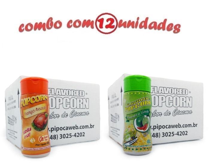 TEMPEROS P/ PIPOCA - CAIXA 12 FRASCOS - 6 FRANGO ASSADO - 6 PIMENTA E LIMÃO