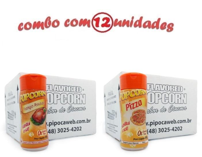 TEMPEROS P/ PIPOCA - CAIXA 12 FRASCOS - 6 FRANGO ASSADO - 6 PIZZA