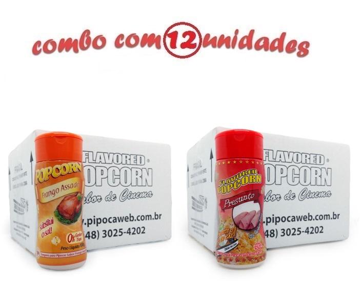 TEMPEROS P/ PIPOCA - CAIXA 12 FRASCOS - 6 FRANGO ASSADO - 6 PRESUNTO