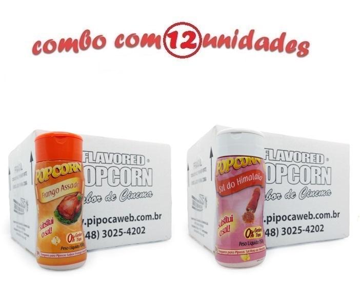 TEMPEROS P/ PIPOCA - CAIXA 12 FRASCOS - 6 FRANGO ASSADO - 6 SAL DO HIMALAIA